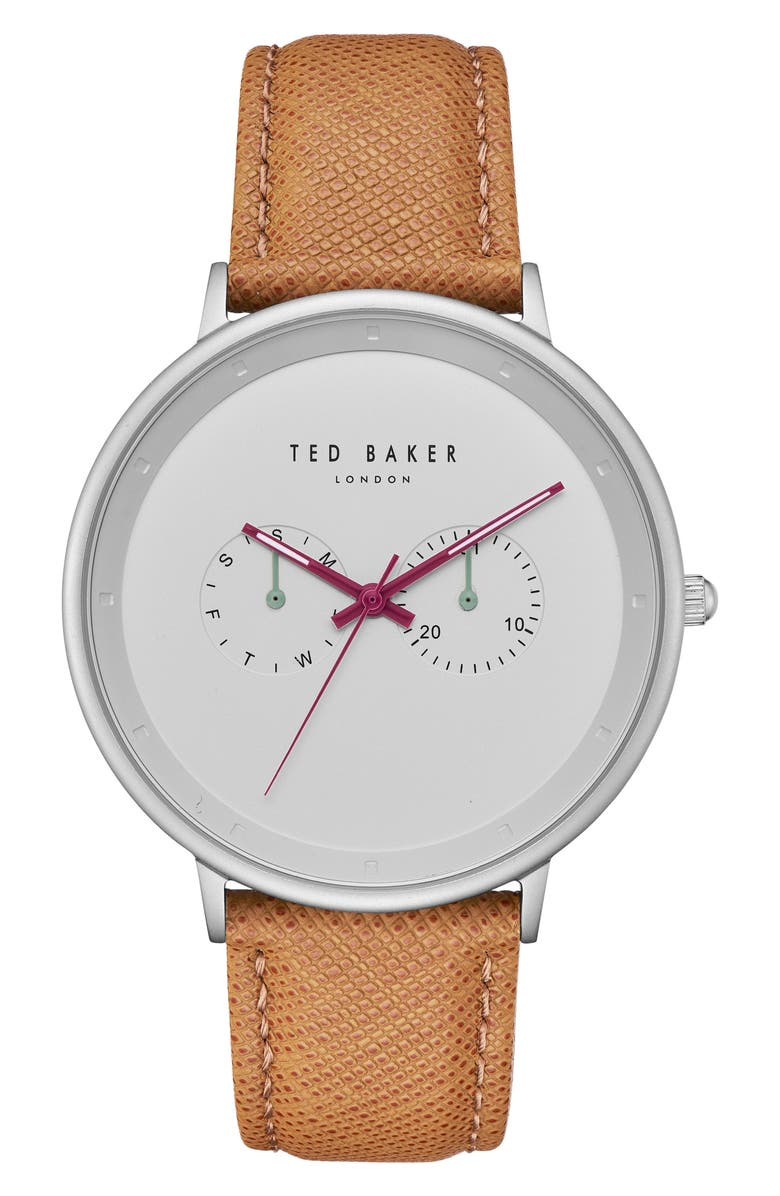 TED BAKER LONDON Brad Multifunction Leather Strap Watch, 42mm, Main, color, 205
