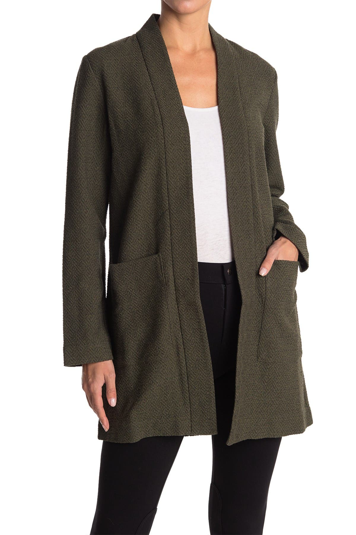 Image of Eileen Fisher Textured Open Front Long Jacket