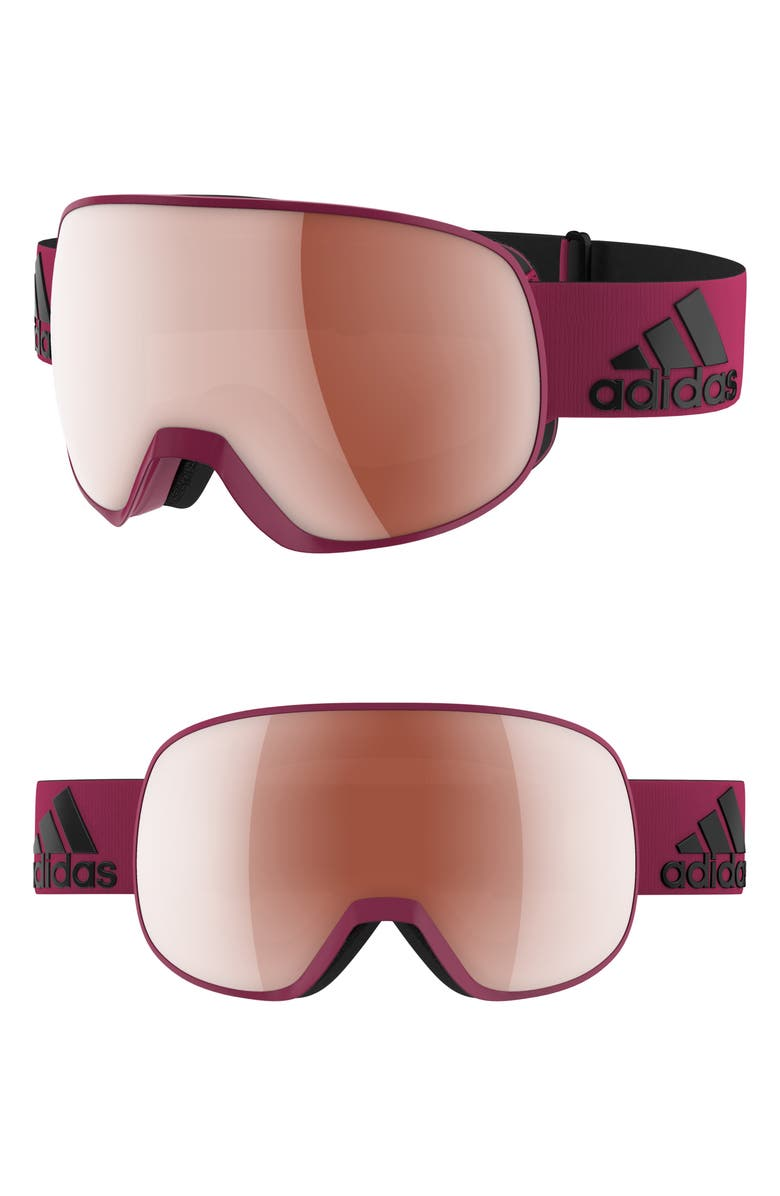 ADIDAS Progressor S Mirrored Spherical Snowsports Goggles, Main, color, MYSTERY RUBY/ ACTIVE SILVER