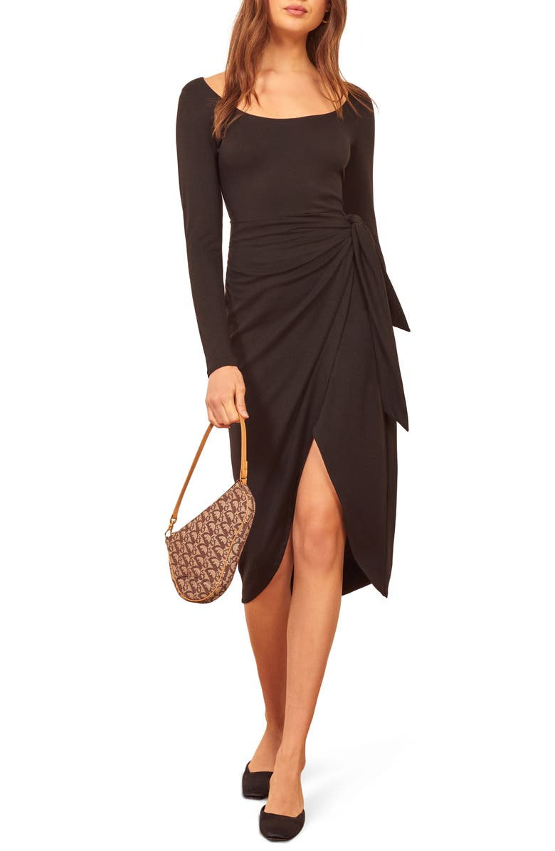 REFORMATION Elisa Tie Waist Long Sleeve Dress, Main, color, BLACK