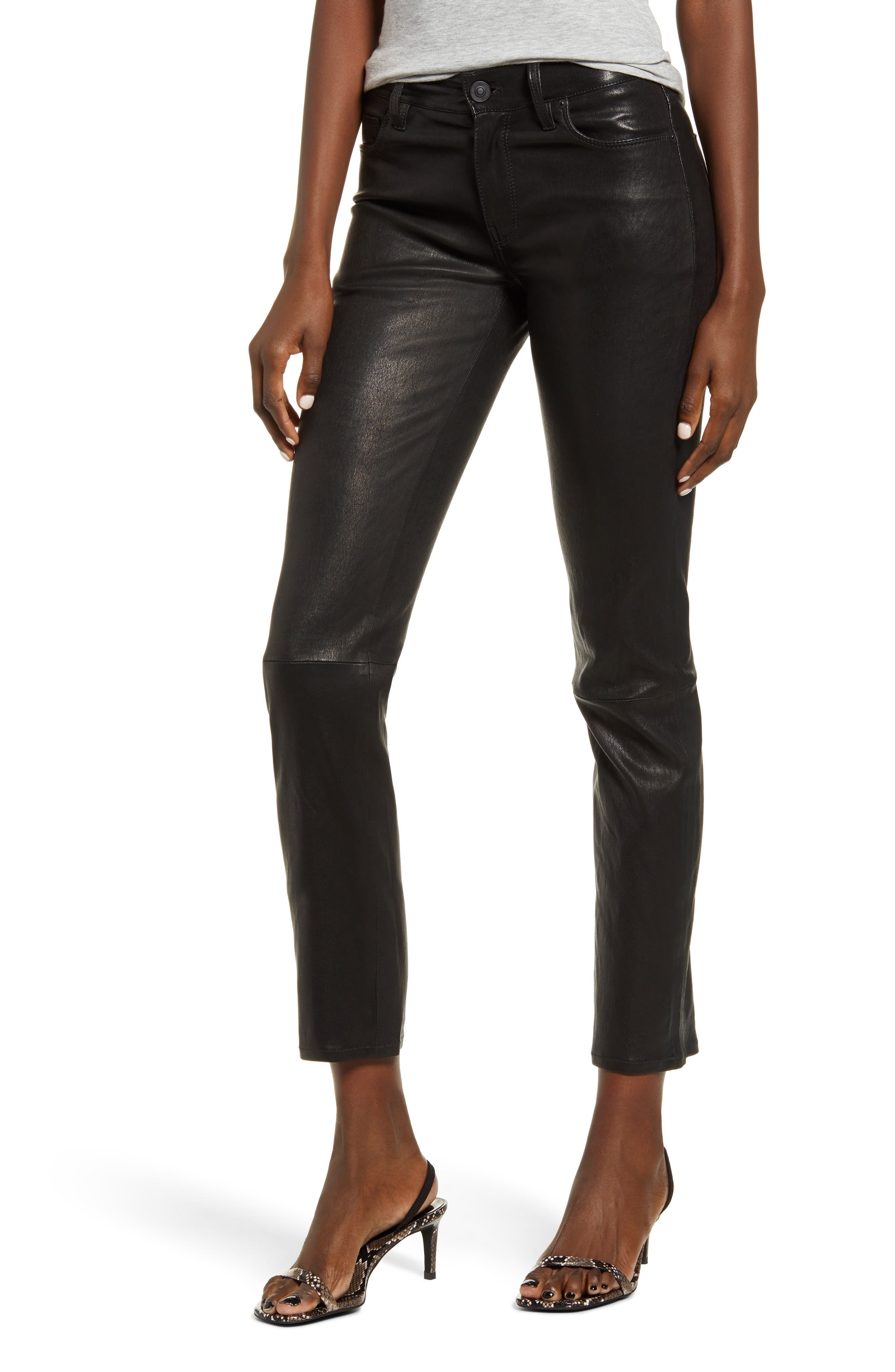 Women's Hudson Nico Straight Leg Ankle Leather Pants