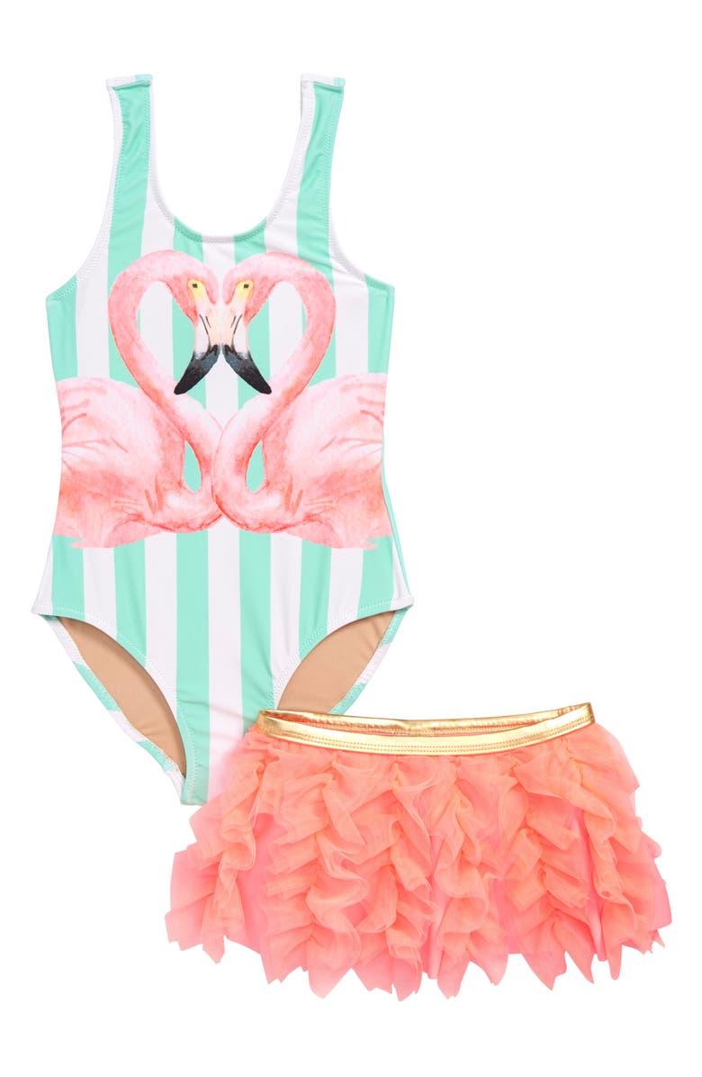 b76350a4fbdb5e Shade Critters Flamingo One-Piece Swimsuit & Swim Skirt Set (Toddler ...