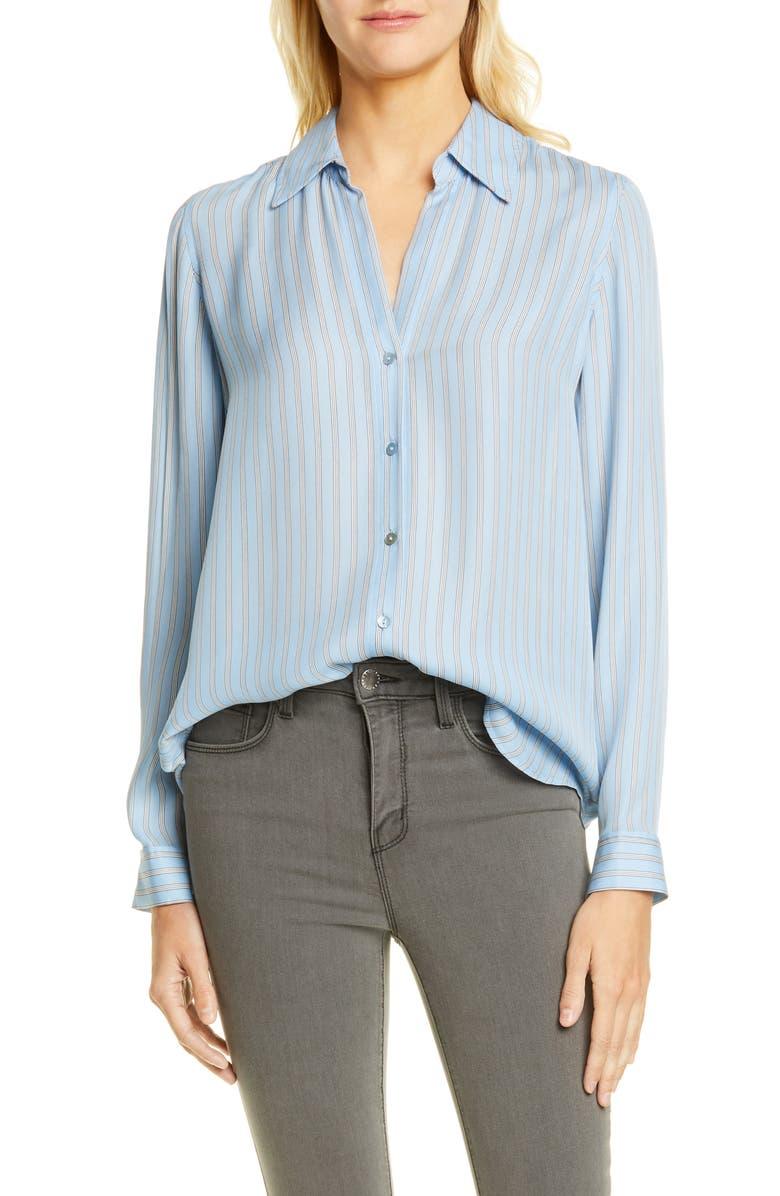 L'AGENCE Nina Stripe Silk Blouse, Main, color, 401