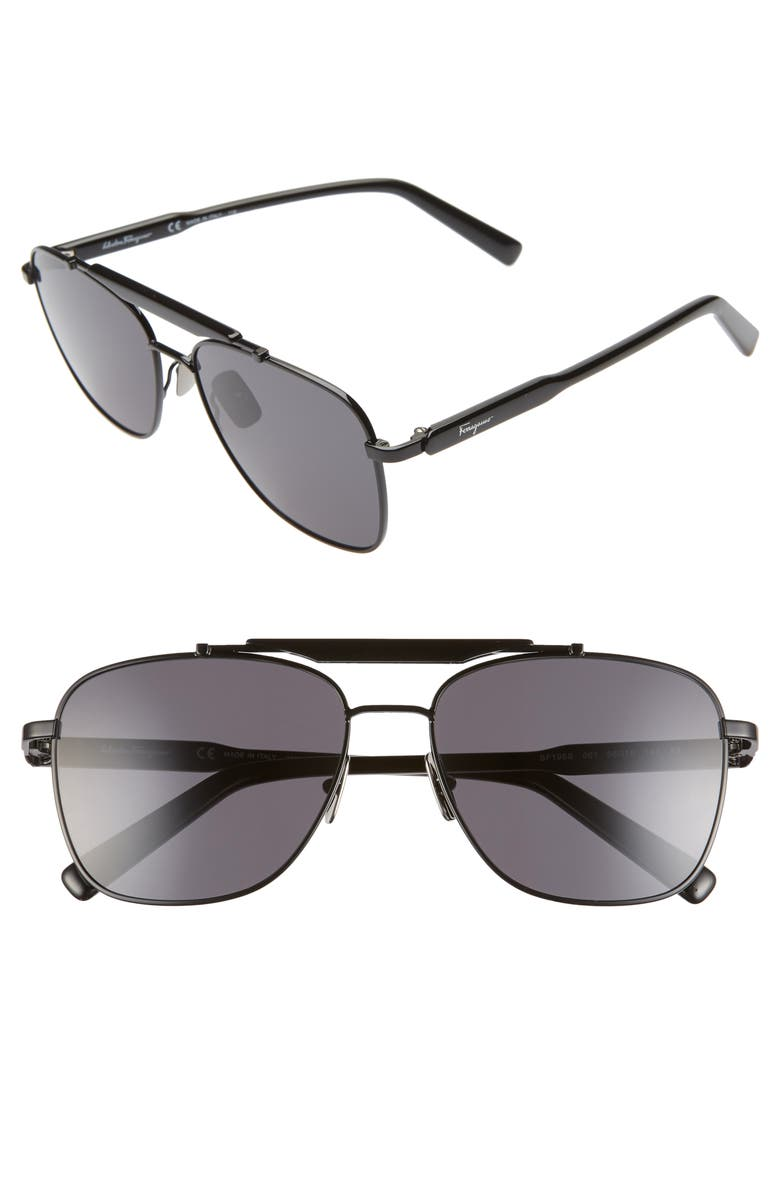 SALVATORE FERRAGAMO 60mm Aviator Sunglasses, Main, color, BLACK