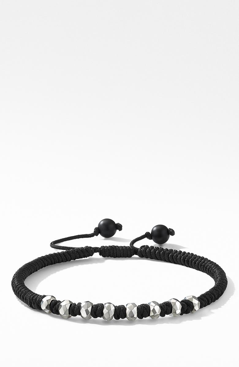 DAVID YURMAN Spiritual Beads Fortune Woven Bracelet with Black Onyx in Sterling Silver, Main, color, SILVER/ BLACK ONYX