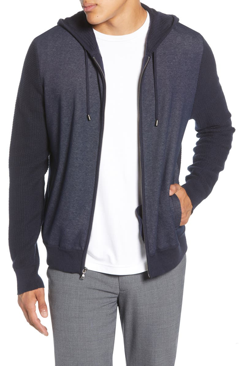 ZACHARY PRELL Collace Zip-Up Hoodie, Main, color, NAVY