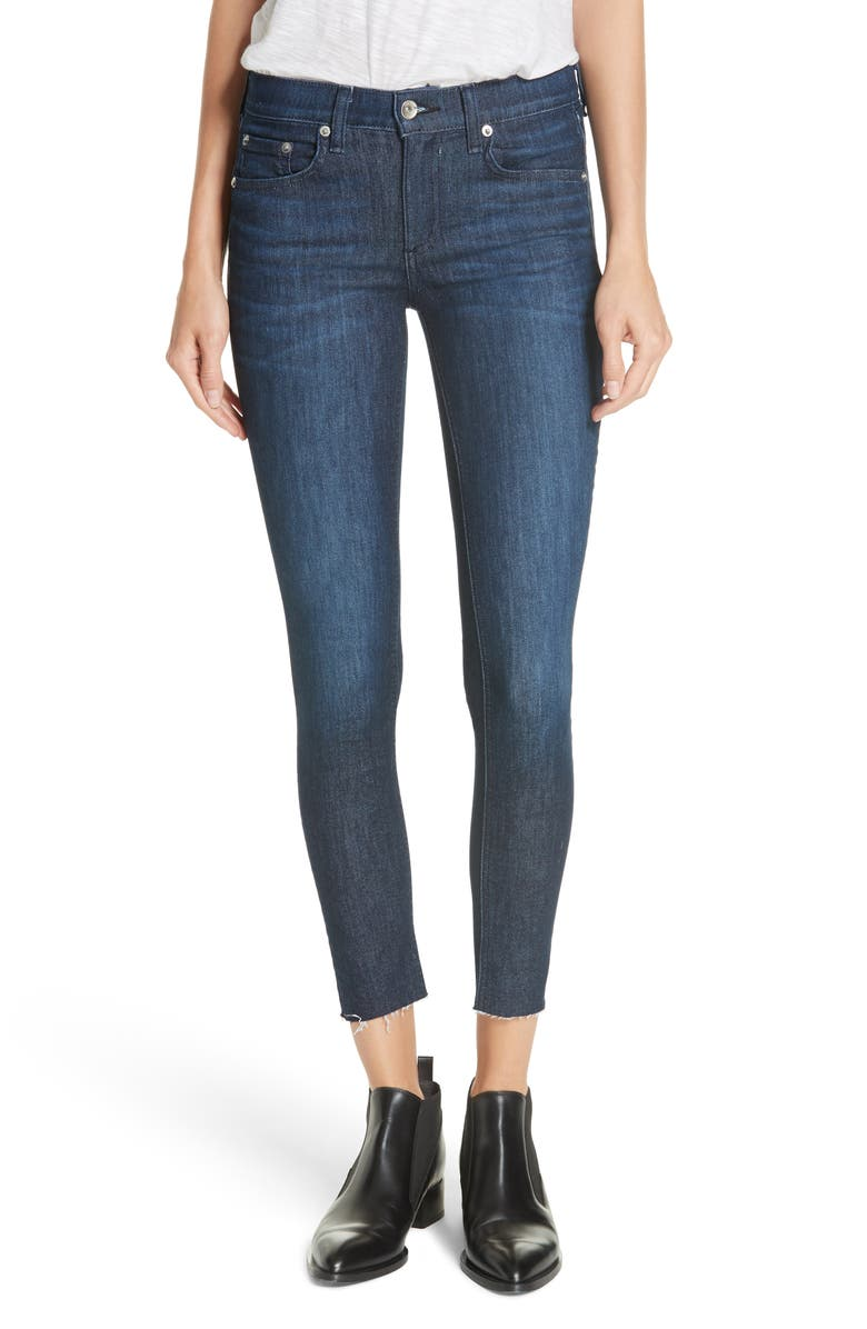 RAG & BONE Raw Hem Ankle Skinny Jeans, Main, color, TONAL RIVER