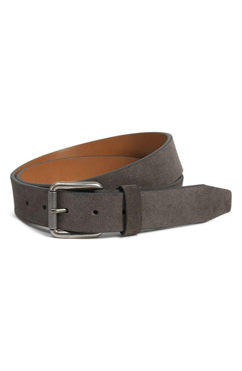 TRASK Cash Suede Belt, Main, color, GREY