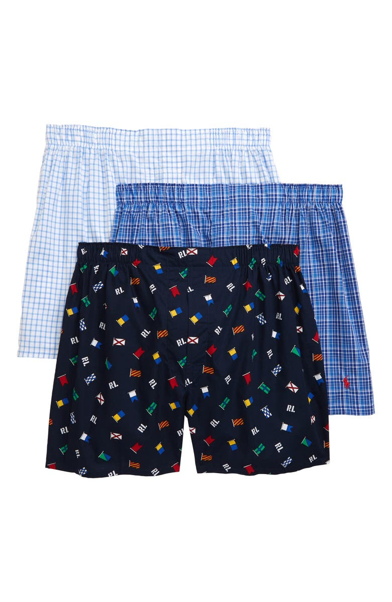 POLO RALPH LAUREN 3-Pack Assorted Woven Boxers, Main, color, SIGNAL FLAG/ DURHAM/ CONCORD
