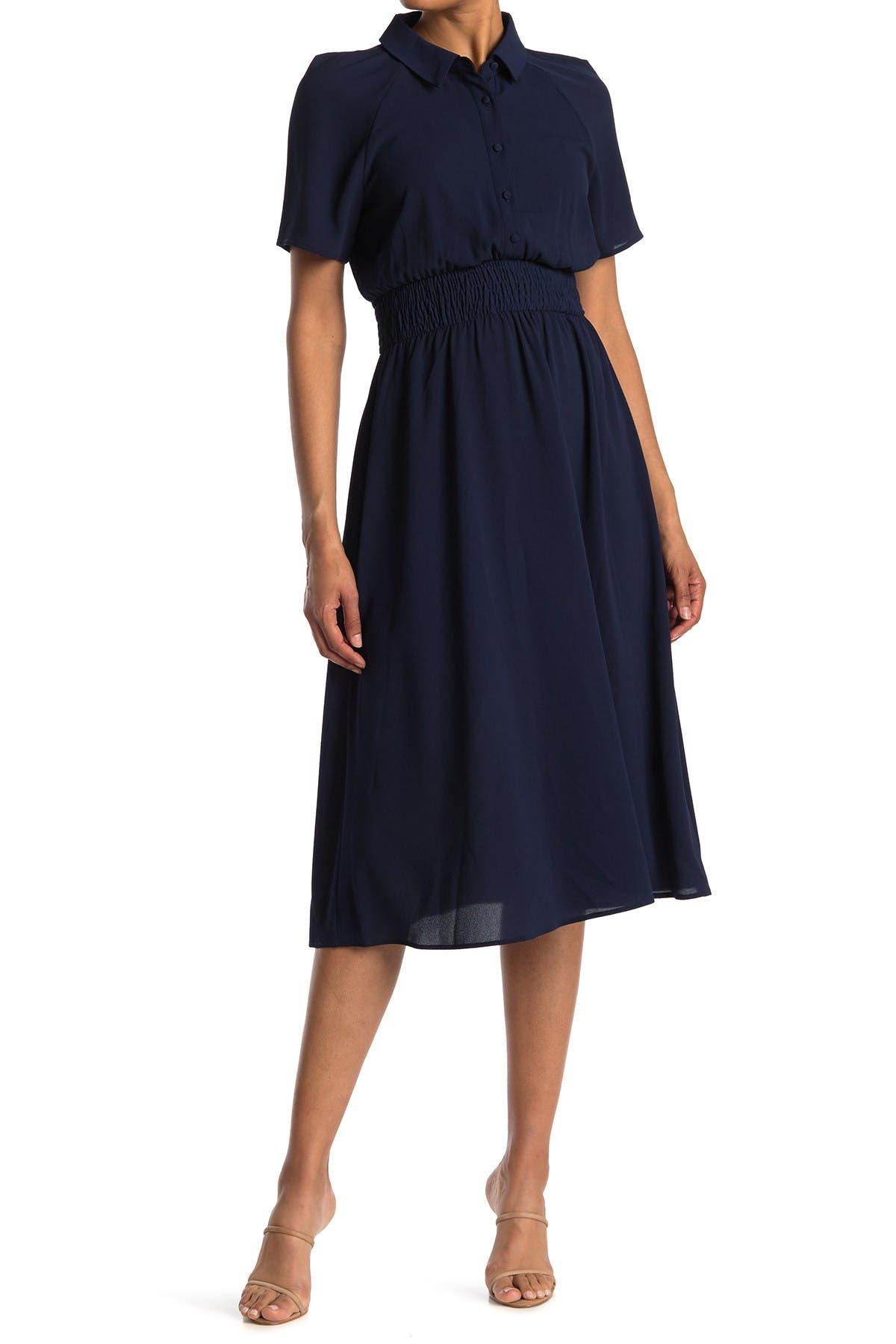 Image of London Times Catalina Short Sleeve Smocked Midi Shirt Dress