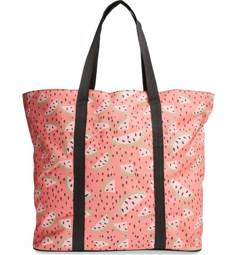 TRI-COASTAL DESIGN 'Coral Watermelon' Beach Tote with Bikini Bag, Main, color, 600
