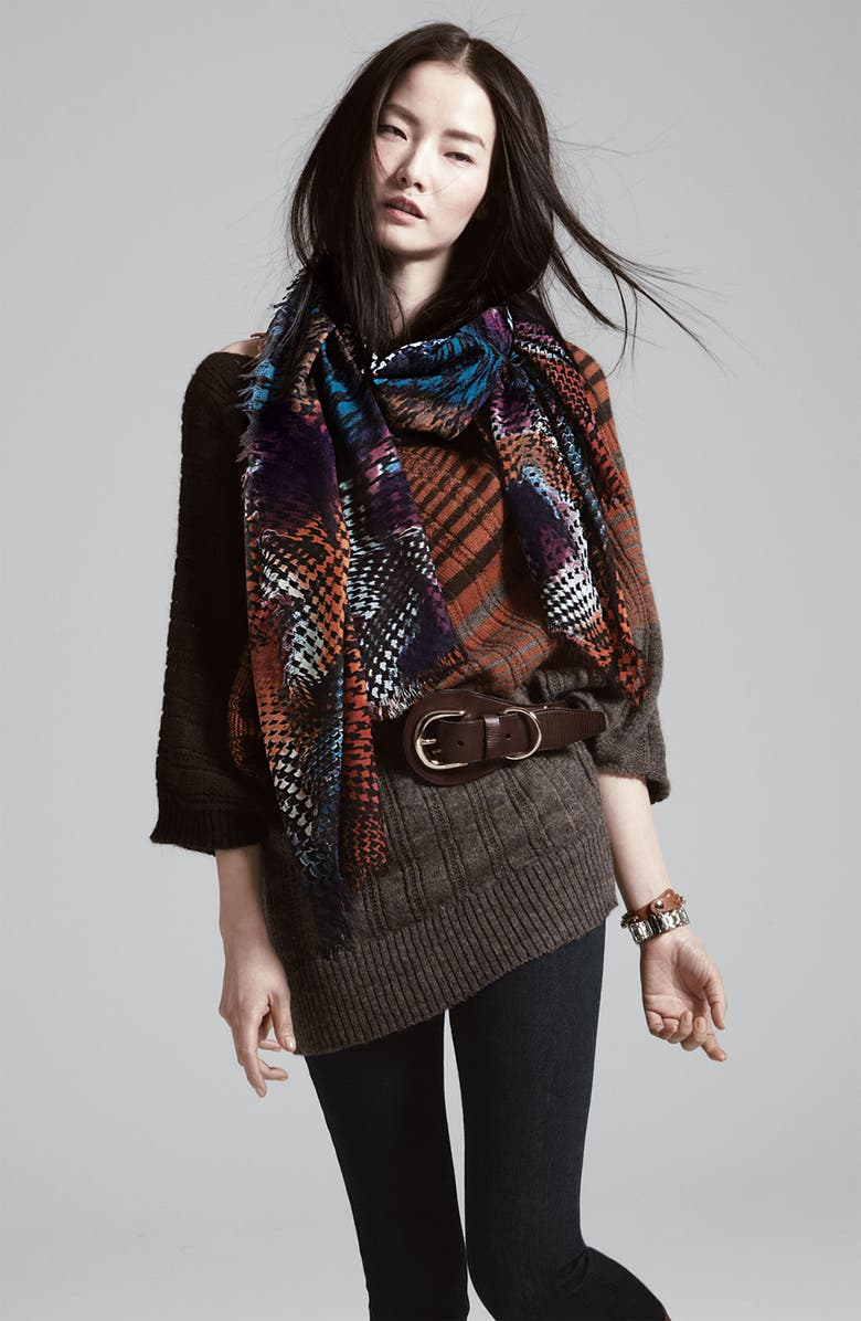 HALOGEN<SUP>®</SUP> Houndstooth Challis Scarf, Main, color, 300