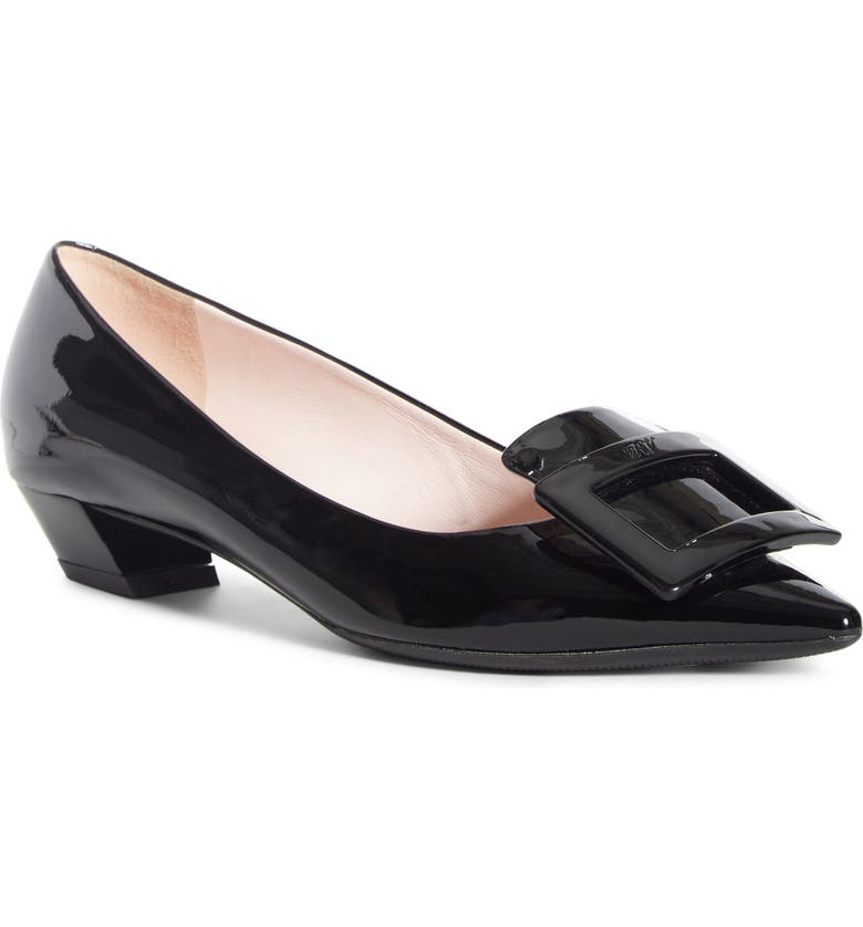 ROGER VIVIER Gommettine Buckle Pointed Toe Pump, Main, color, BLACK