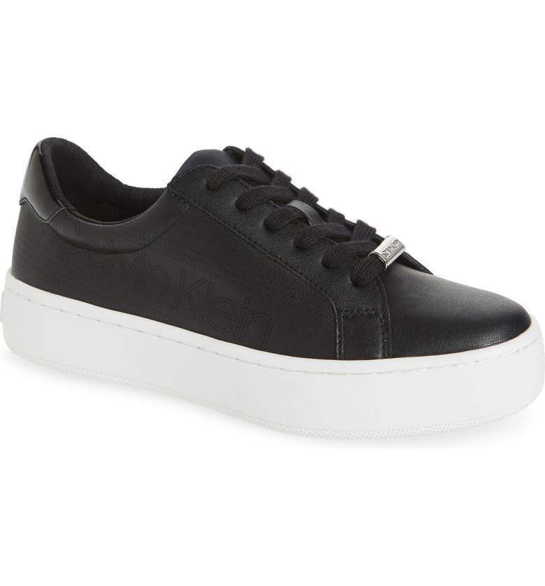 CALVIN KLEIN Clarine Platform Sneaker, Main, color, BLACK NAPPA LEATHER