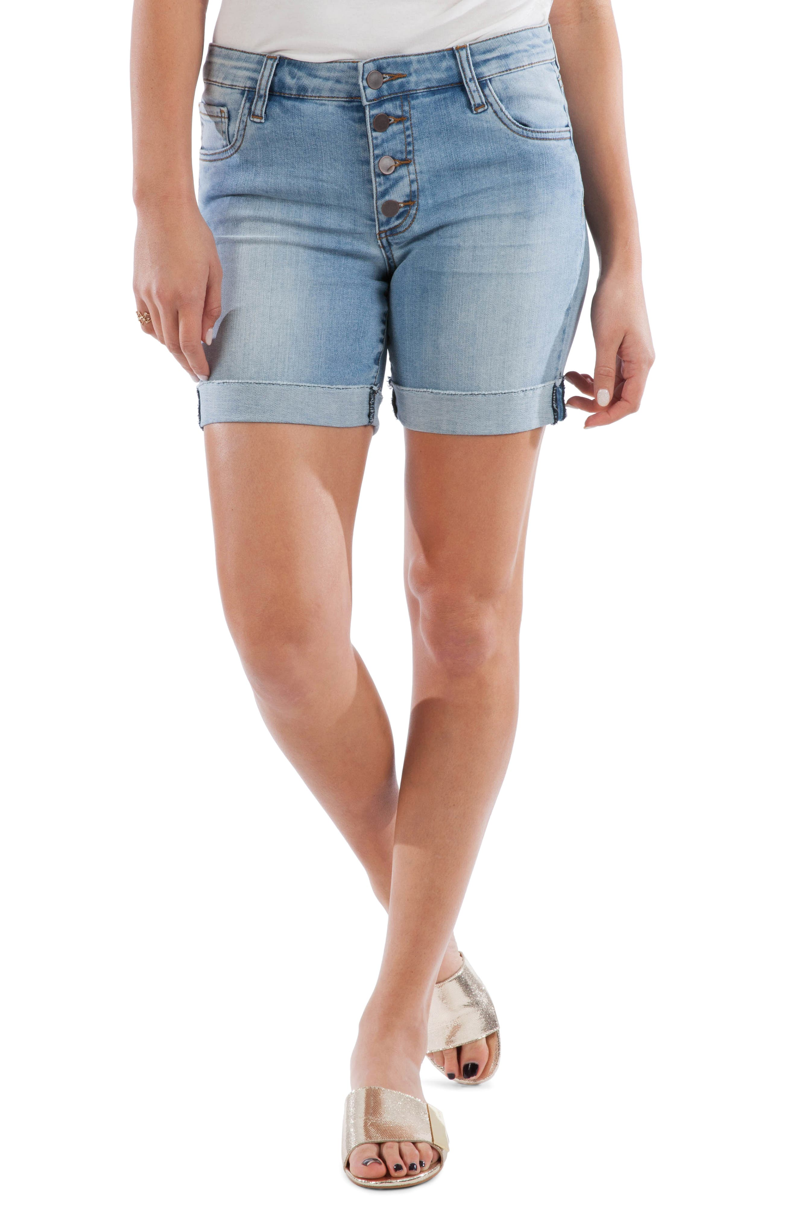 Let your other cutoffs step to the side, because these faded button-fly shorts are the ones you\\\'ll want to wear all season. Style Name: Kut From The Kloth Catherine High Waist Boyfriend Denim Shorts (Needed). Style Number: 5797287. Available in stores.