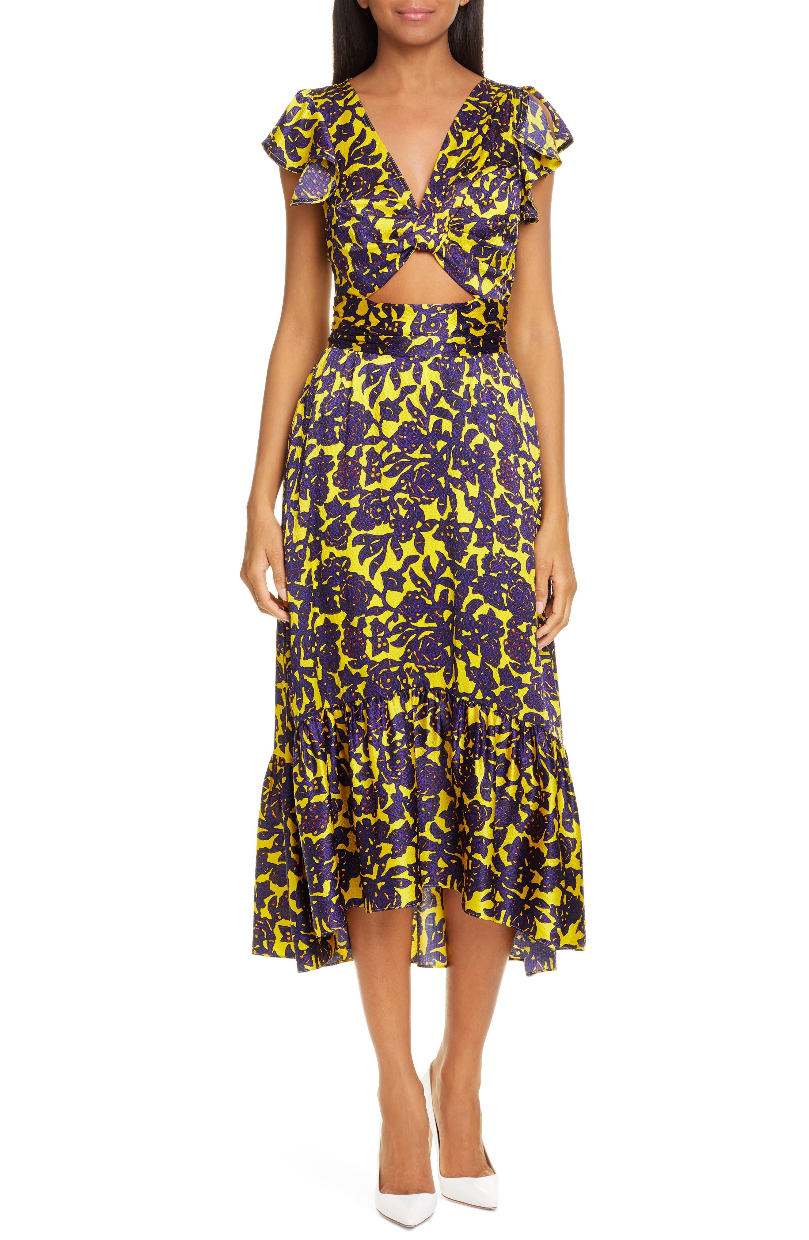 A.l.c. Valencia Silk Midi Dress, Yellow