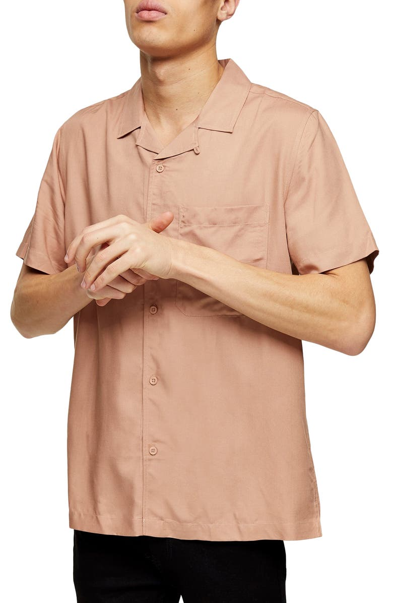 TOPMAN Slim Fit Solid Short Sleeve Button-Up Shirt, Main, color, STONE