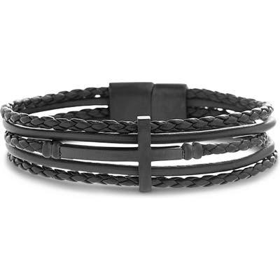 Ben Sherman Cross Multistrand Leather Bracelet