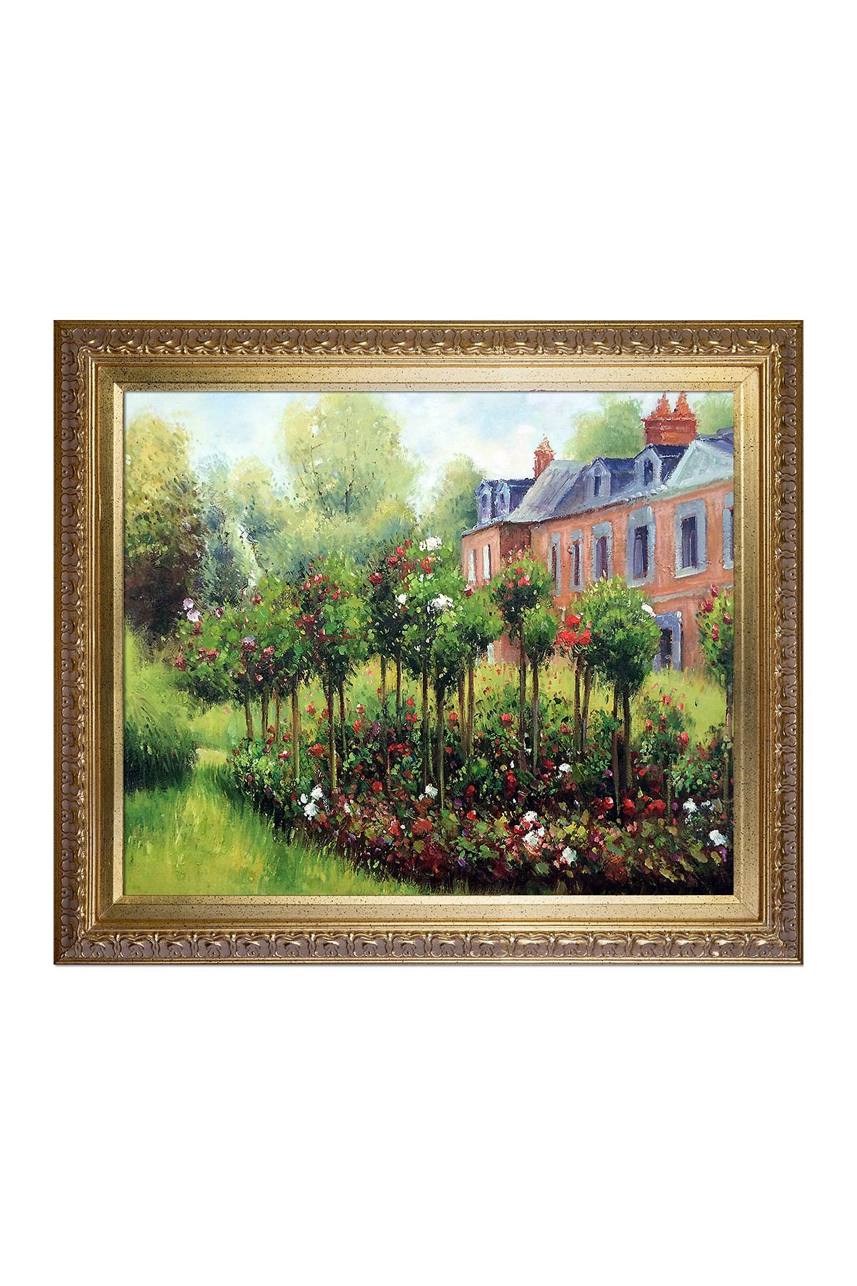 Image of Overstock Art The Rose Garden at Wargemont, 1879 Framed Hand Painted Oil Reproduction