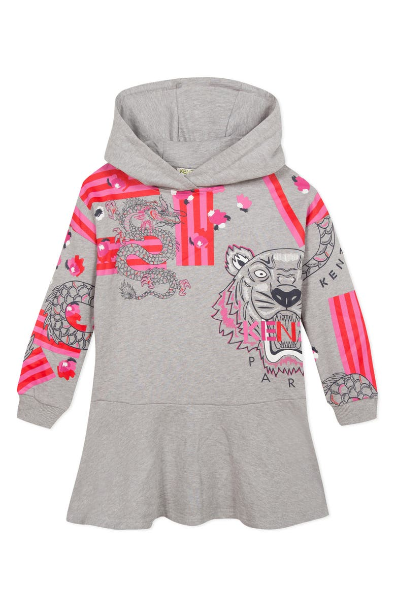 KENZO Graphic Hooded Sweatshirt Dress, Main, color, GREY