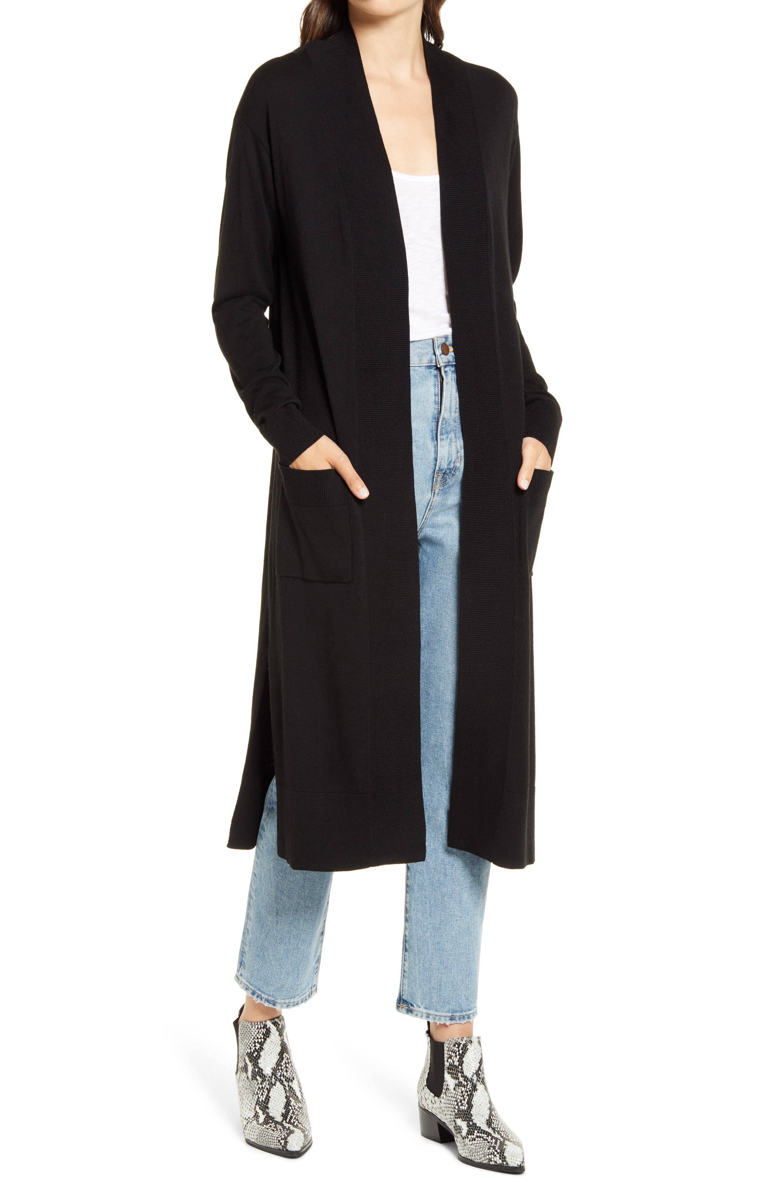 Ribbed knit edges a fine-gauge cashmere-kissed cardigan with a long open-front design that easily goes with anything in your closet. Style Name: Chelsea28 Open Duster Cardigan. Style Number: 6015394. Available in stores.