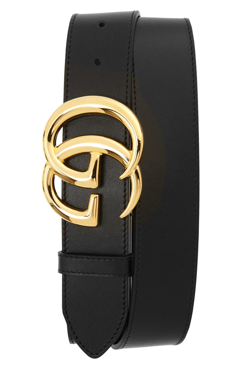 GUCCI GG Logo Leather Belt, Main, color, 001