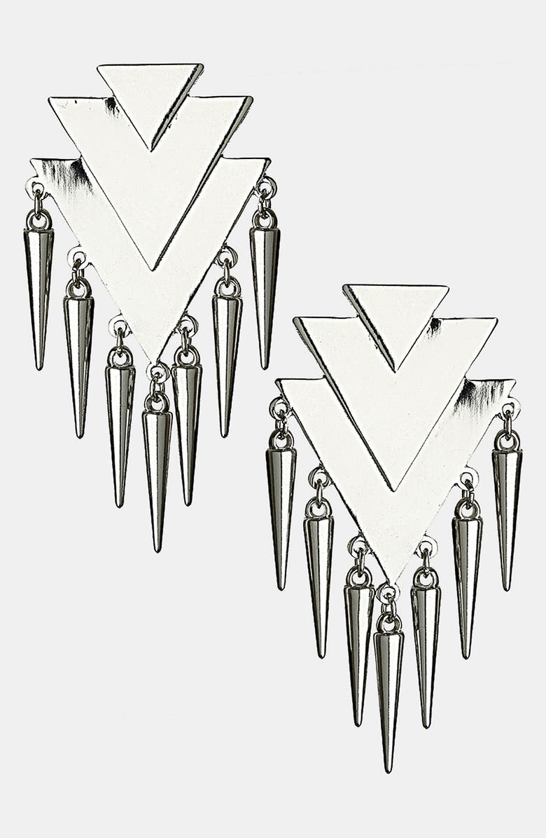 TOPSHOP Triangle & Spike Drop Earrings, Main, color, 041