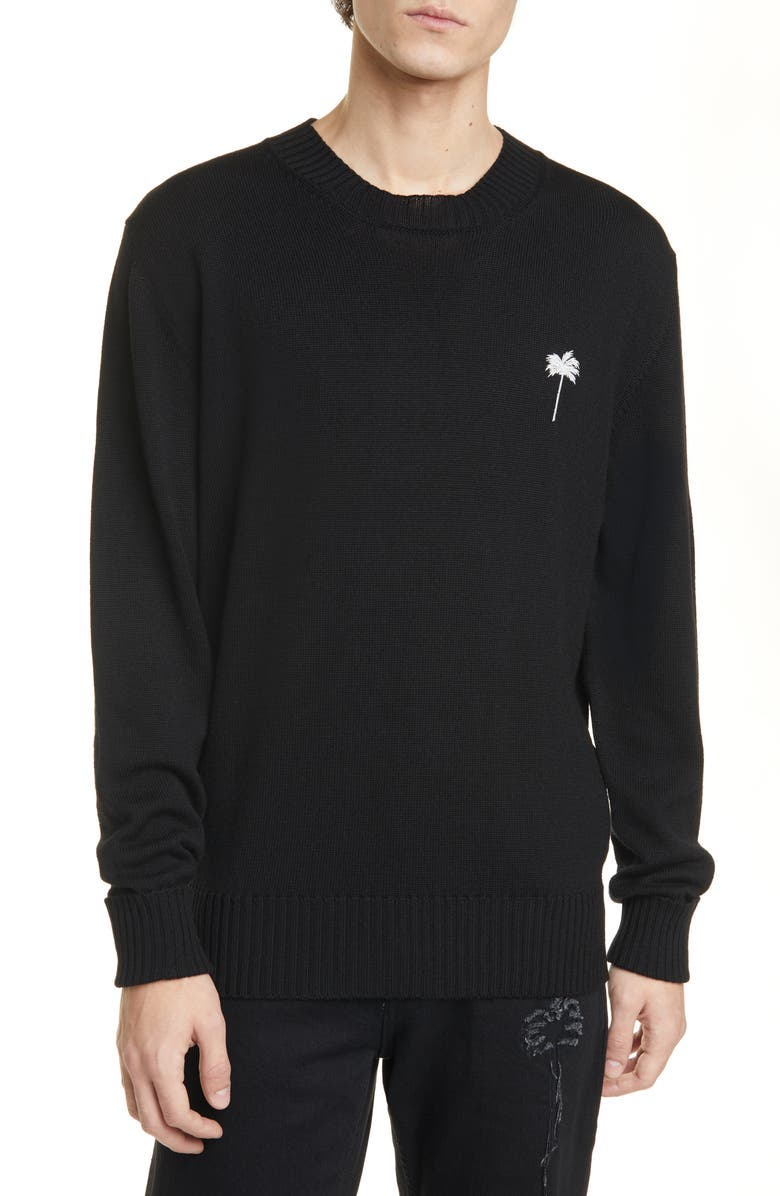 PALM ANGELS PxP Big Palm Wool Sweater, Main, color, BLACK WHITE