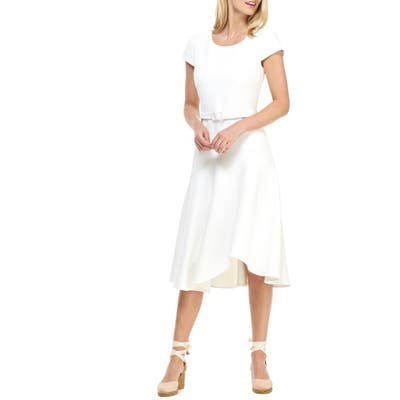 Gal Meets Glam Collection Cecelia Belted Crepe Dress, White
