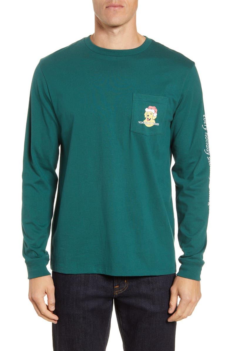 VINEYARD VINES Christmas Good Boy Long Sleeve Pocket T-Shirt, Main, color, CHARLESTON GREEN