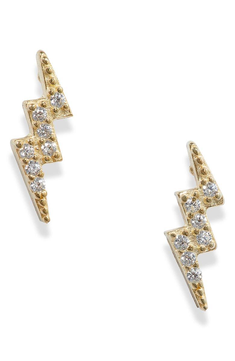 ADINA'S JEWELS Adina's Jewels Lightning Stud Earrings, Main, color, GOLD