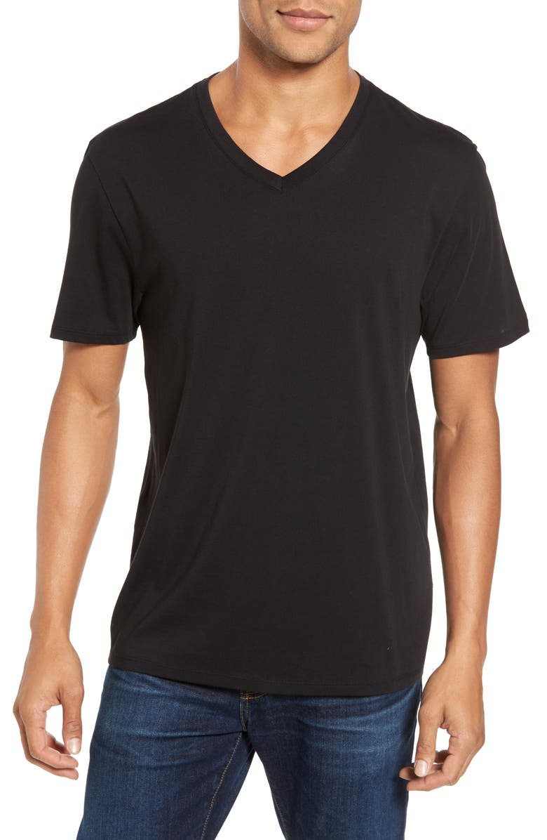 VINCE Pima Cotton Slim Fit V-Neck T-Shirt, Main, color, BLACK