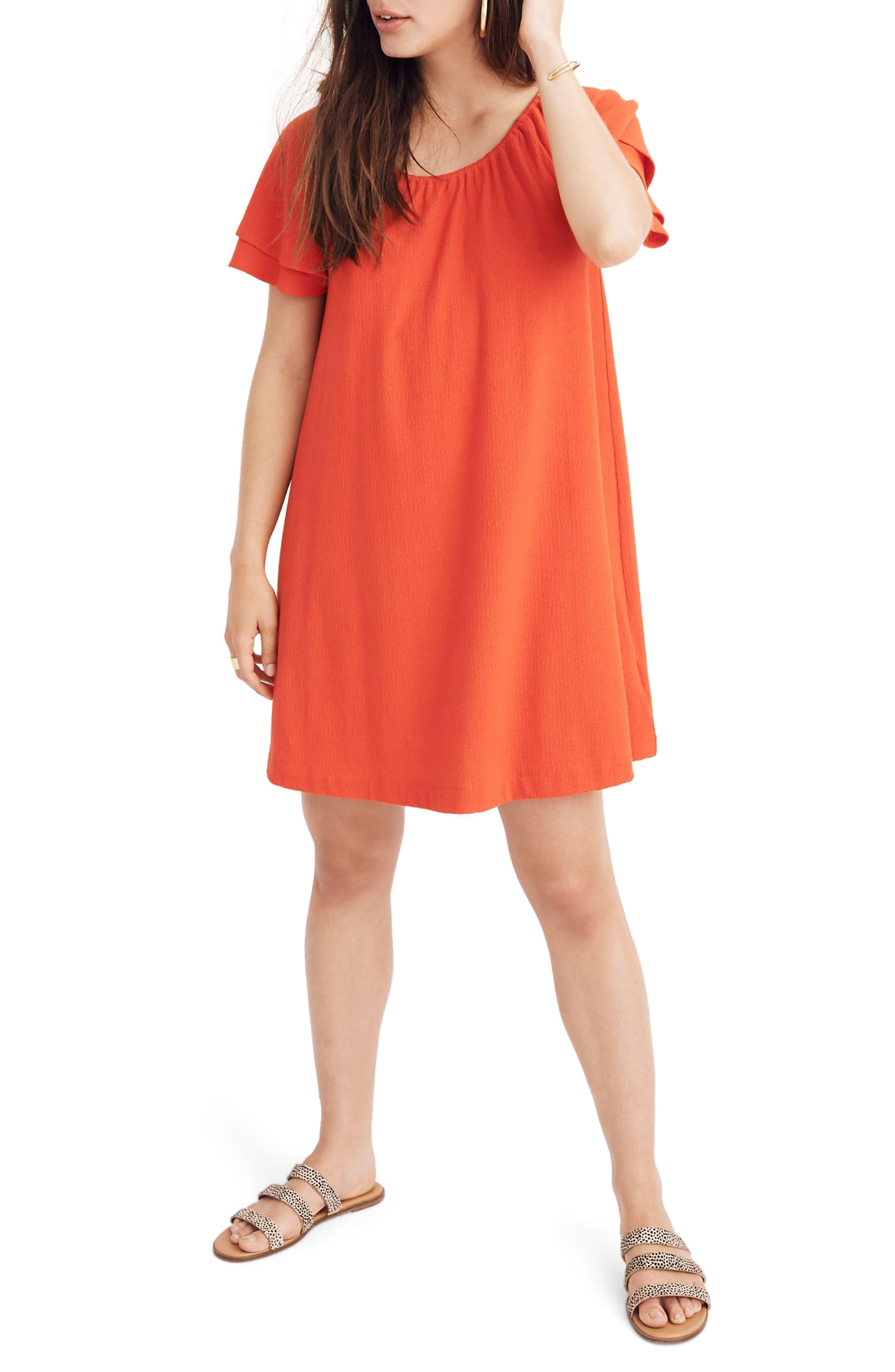Madewell Texture & Thread Tiered Sleeve Dress, Red