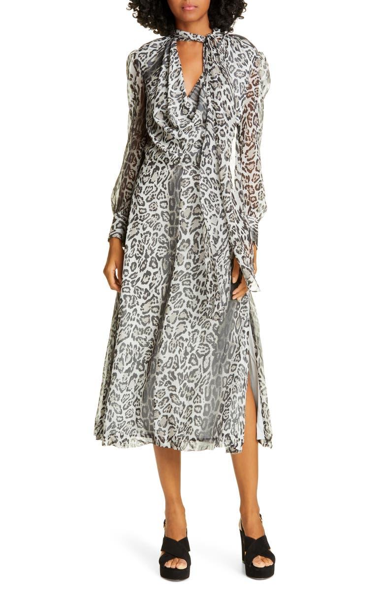 TOMMY HILFIGER Tommy x Zendaya Leopard Tie Neck Long Sleeve Midi Dress, Main, color, 020