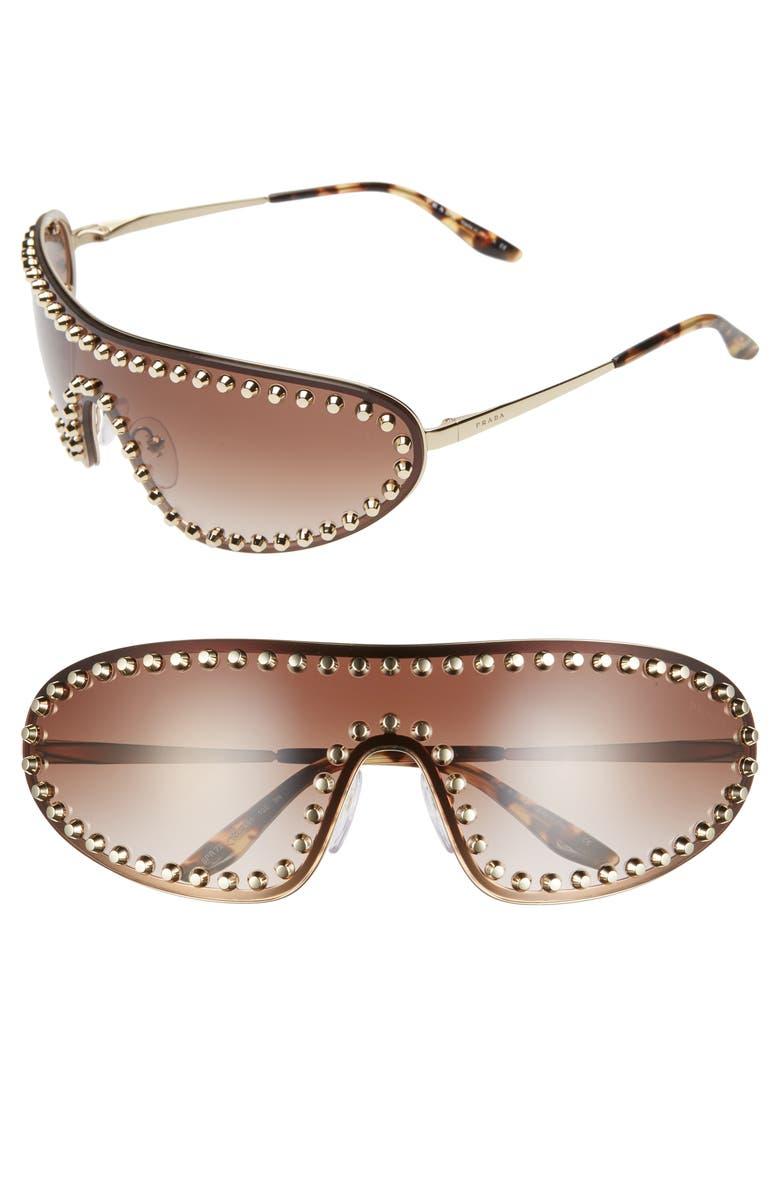 PRADA 170mm Studded Gradient Wraparound Shield Sunglasses, Main, color, 710