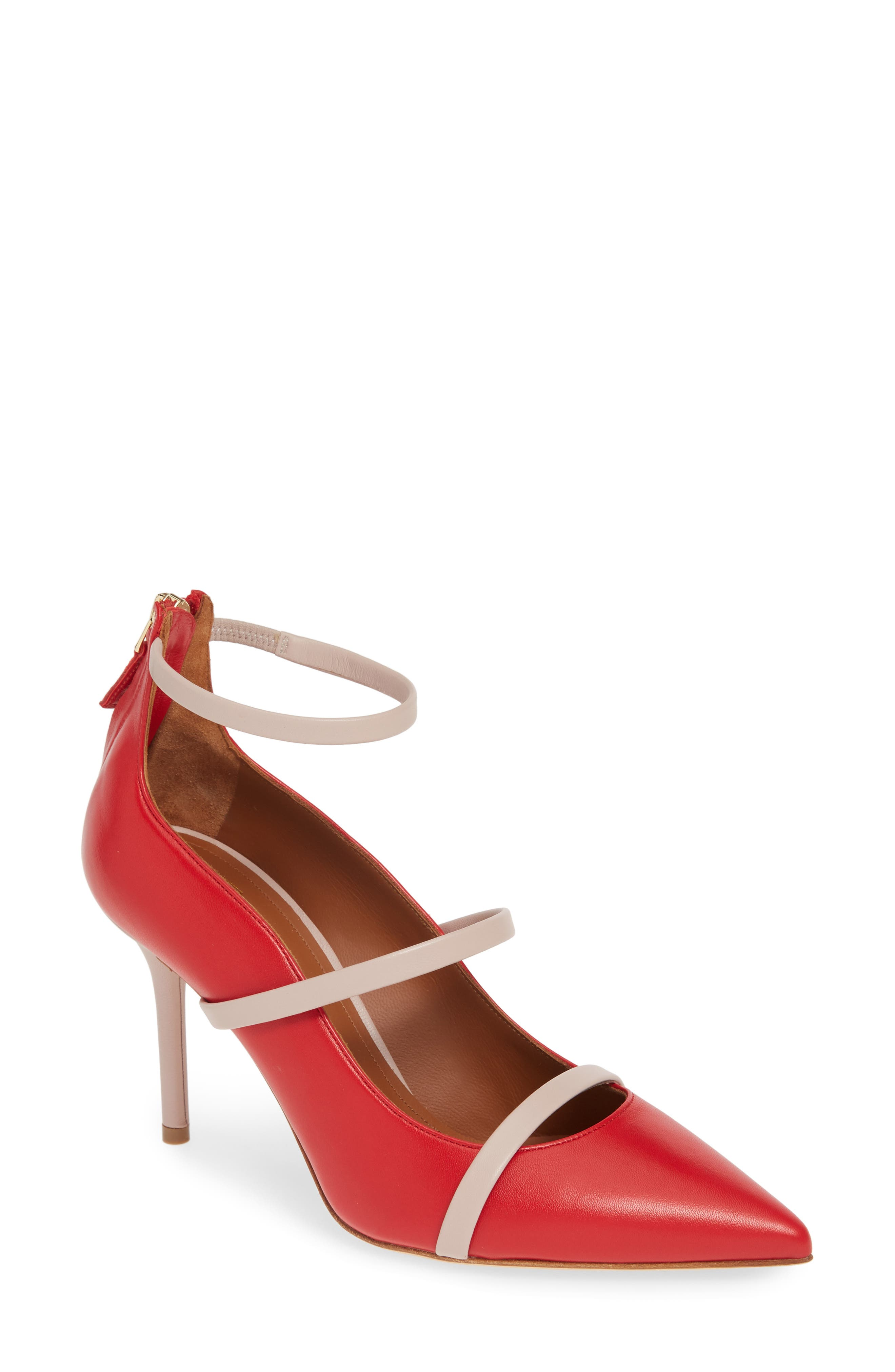 Malone Souliers Robyn Ankle Strap Pump, Red