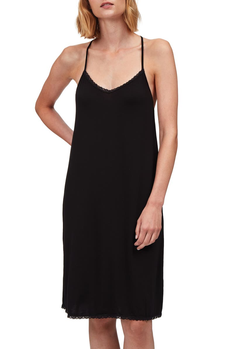 THE WHITE COMPANY Lace Back Chemise, Main, color, BLACK