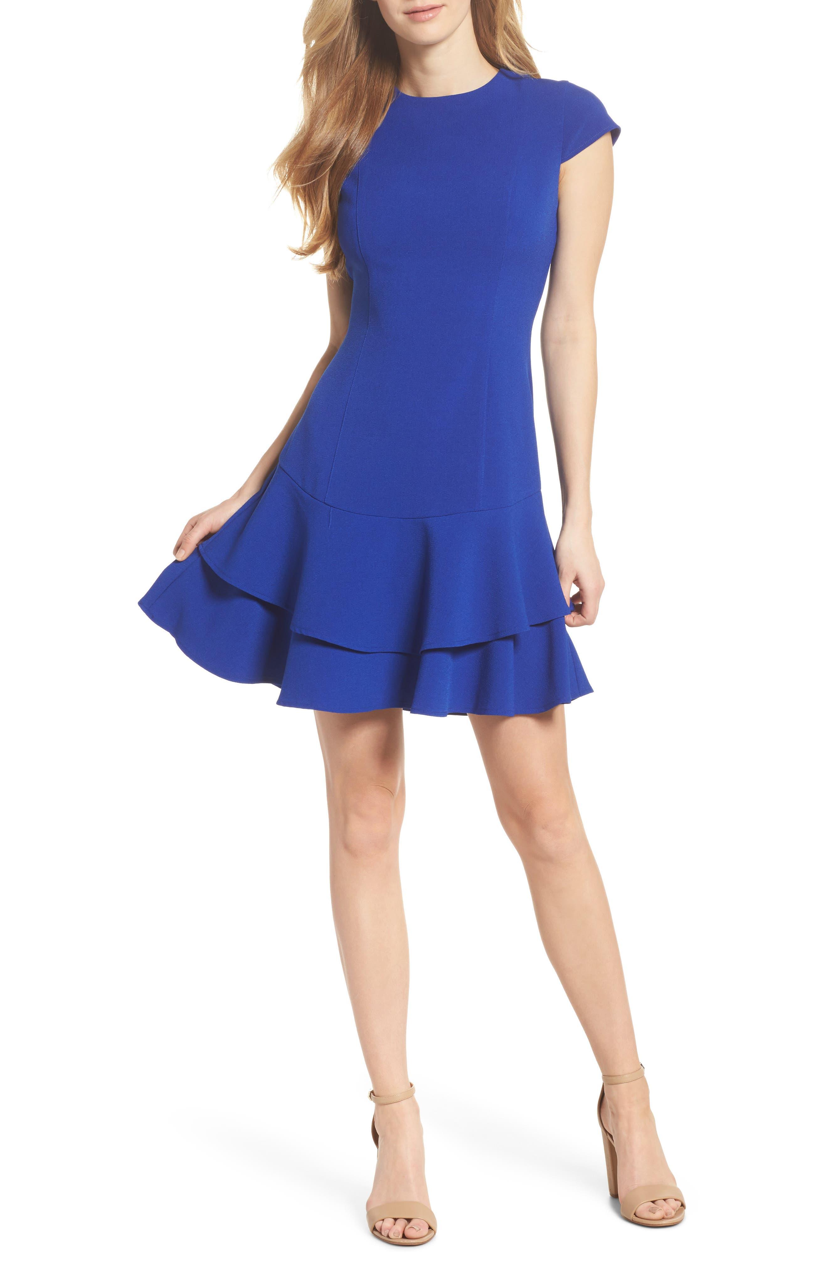 Eliza J Stretch Ruffle Crepe Sheath Dress, Blue