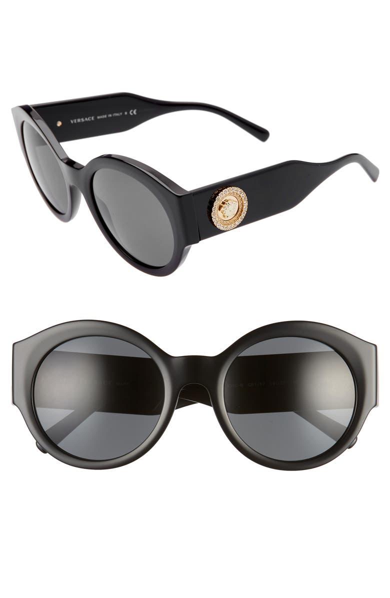 VERSACE 54mm Polarized Round Sunglasses, Main, color, BLACK/ GREY SOLID