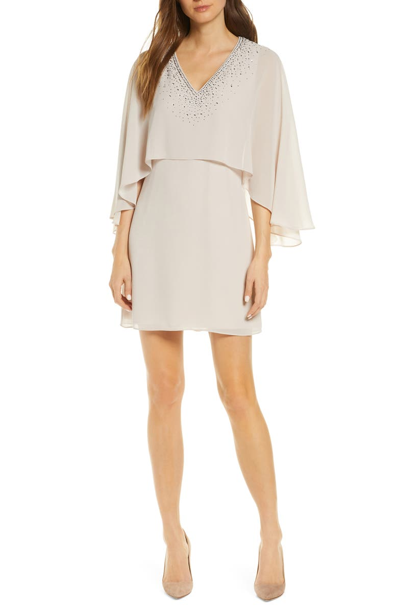 VINCE CAMUTO Chiffon Cape Cocktail Dress, Main, color, 250