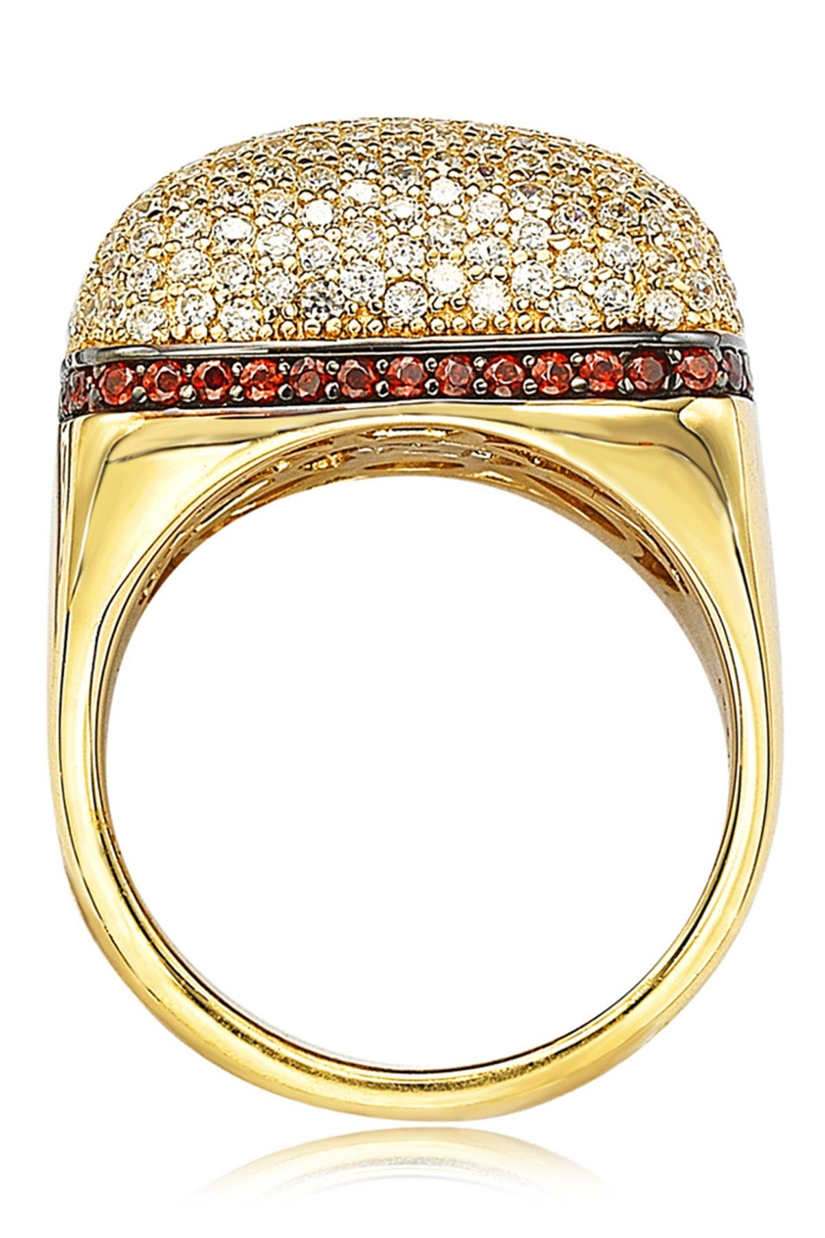 Image of Suzy Levian 14K Yellow Gold Plated Sterling Silver Halo Chocolate CZ Square Ring