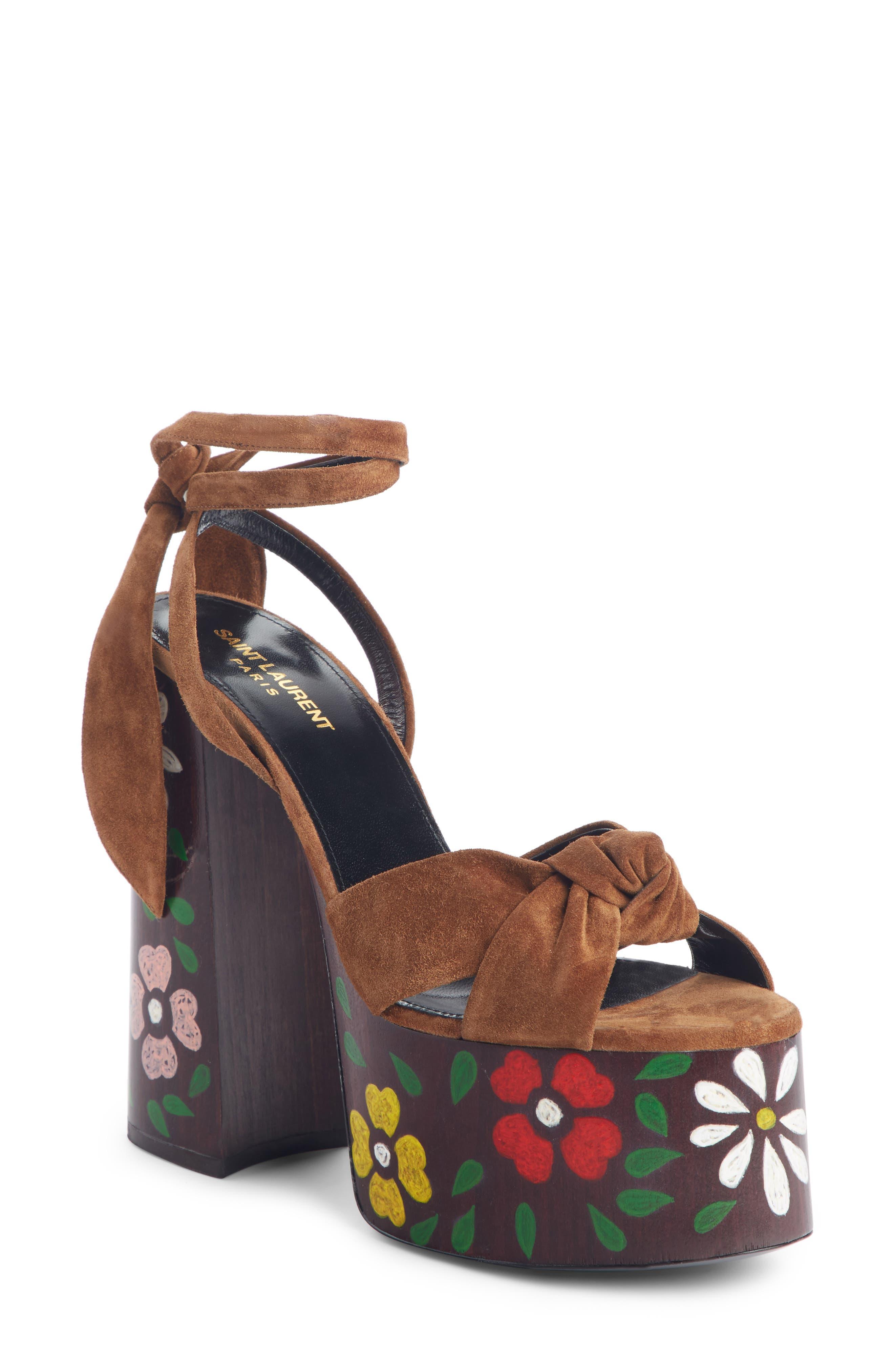 Saint Laurent Paige Floral Platform Sandal - Brown
