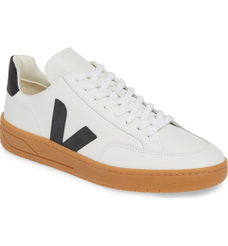 VEJA V-12 Sneaker, Main, color, EXTRA WHITE/ BLACK LEATHER
