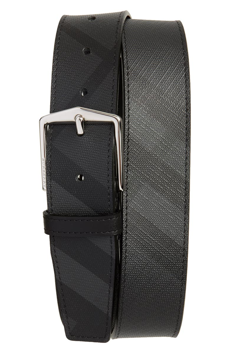 BURBERRY Check Belt, Main, color, CHARCOAL/ BLACK