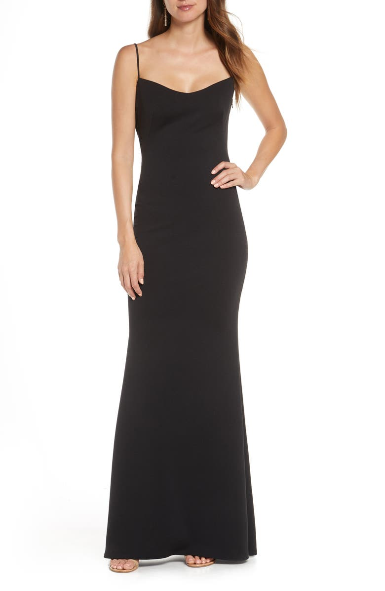 KATIE MAY The Gina Backless Trumpet Gown, Main, color, BLACK