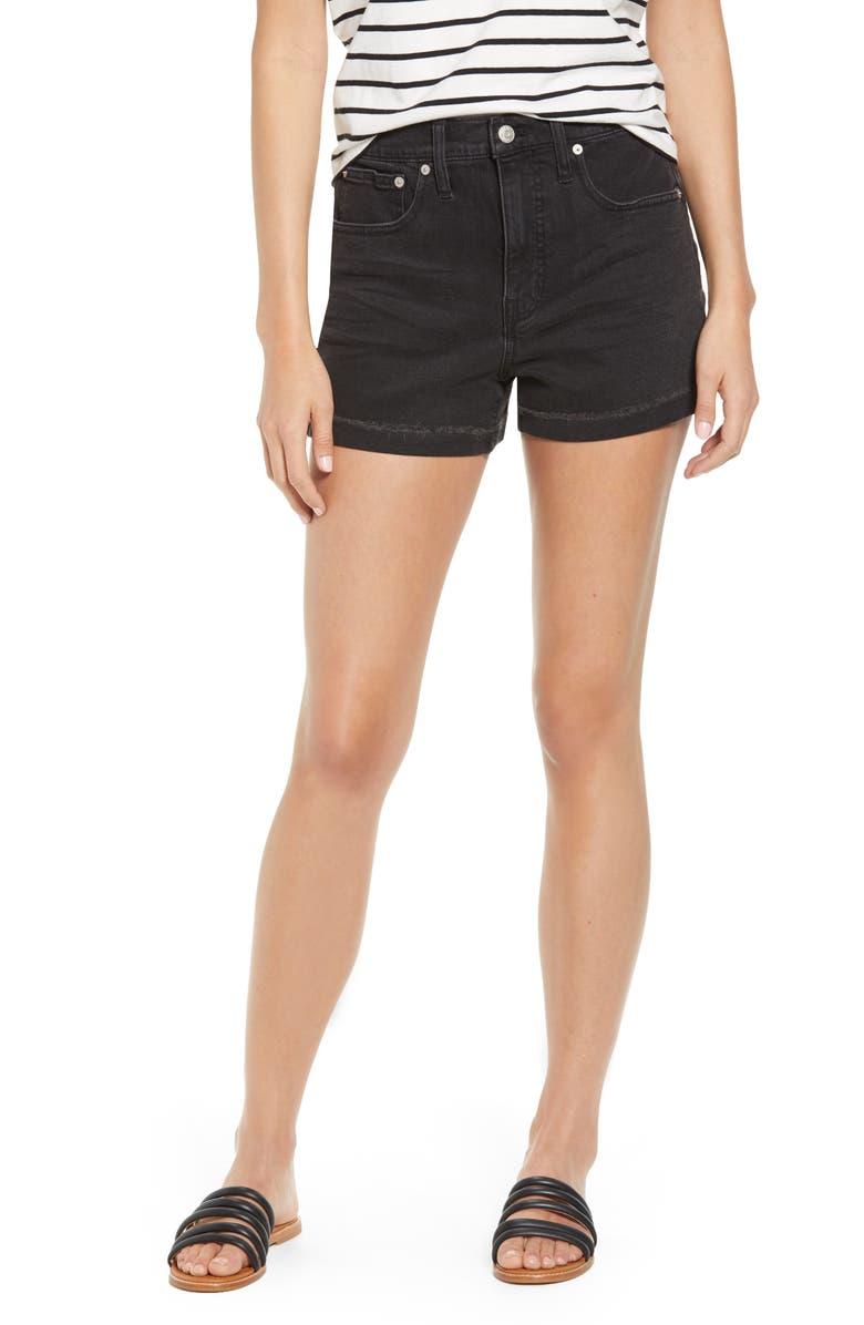 MADEWELL High Waist Raw Hem Denim Shorts, Main, color, 001