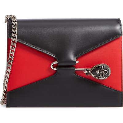 Alexander Mcqueen Pin Calfskin Leather Shoulder Bag - Black