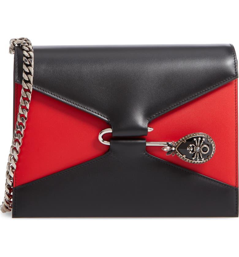 ALEXANDER MCQUEEN Pin Calfskin Leather Shoulder Bag, Main, color, BLACK/ LUST RED