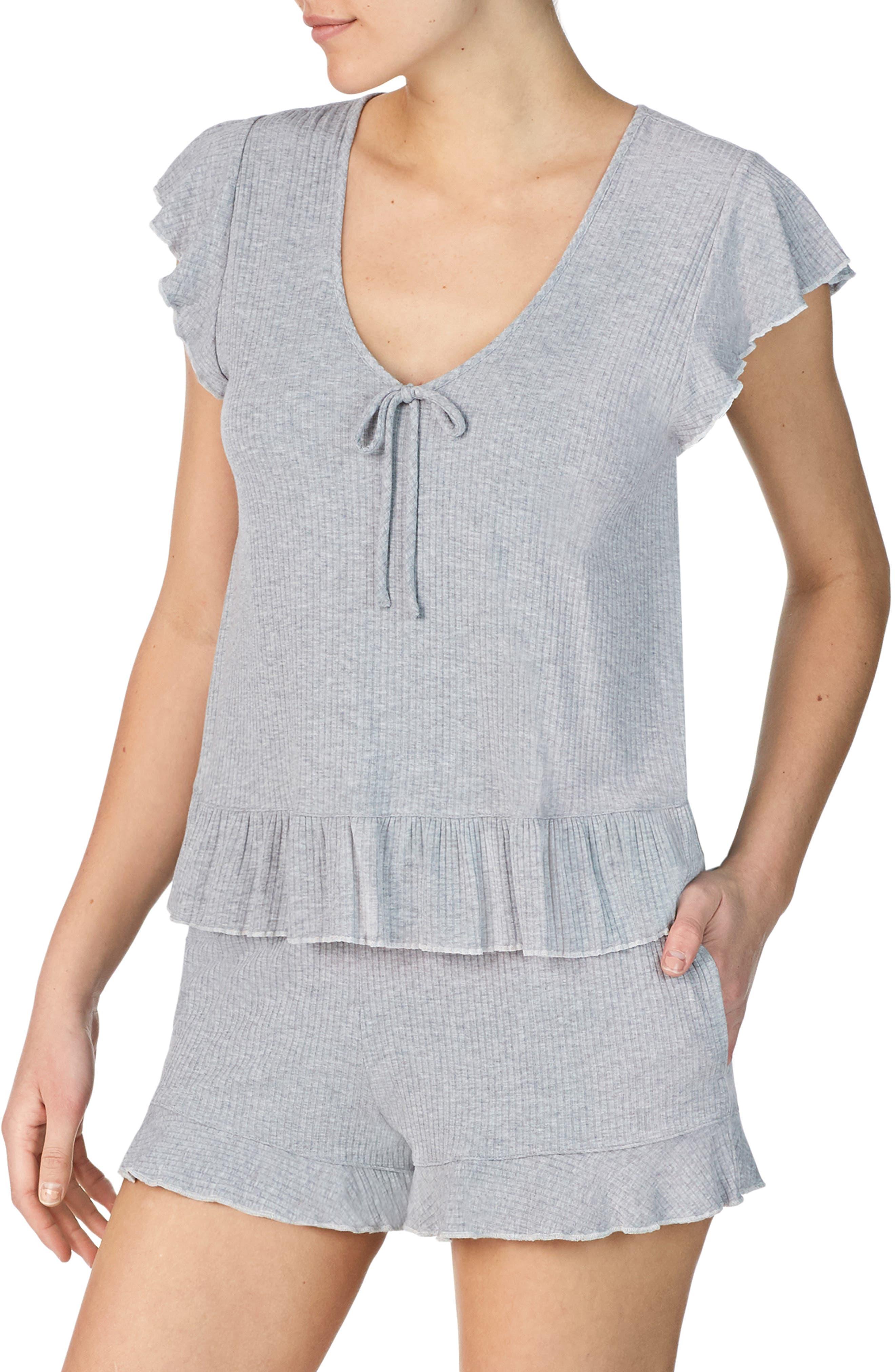 Room Service Ruffle Short Pajamas, Grey (Nordstrom Exclusive)