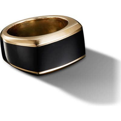 David Yurman Roman 18K Gold Signet Ring With Black Onyx